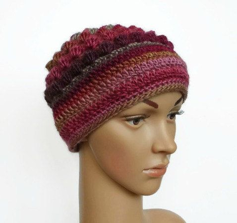 Crochet Hat Ladies Beanie Multi-coloured hat by MissCrocreations
