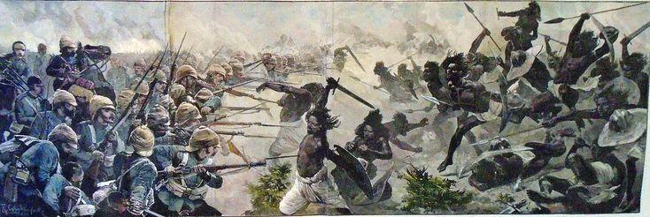 Una ilustración de la Historia británica, La guerra en Sudán (1883-1885), tropas británicas en acción en la batalla de El Teb contra feroces miembros de una tribu el 29 de febrero de 1884. http://www.elgrancapitan.org/foro/viewtopic.php?f=21&t=11680&p=914836#p914769