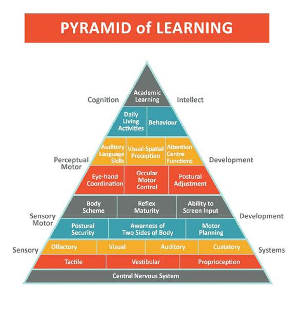 "The Pyramid Of Learning- Start at the bottom and meet the child's sensory needs before moving up through to learning. Teachers often think kids in the spectrum are ""so smart,"" without realizing that the holes in the bottom of the pyramid are the actual core deficit areas that hold them back from their ultimate potential."