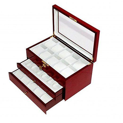 Campione Collections Portaorologi caja funda caja para 26relojes con vitrina relojes de madera acabado CEREZO