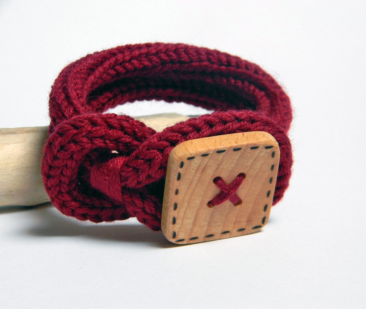Maroon red knitted wool yarn bracelet Noemi, handmade square wood button, knitted jewelry.. €18.00, via Etsy.