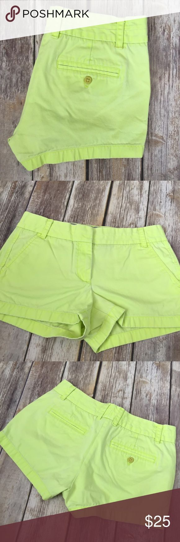 """J Crew Neon Yellow Chino Shorts J Crew """"Broken-In Chino"""" Shorts in neon yellow. Size 4. Very good preowned condition. Inseam is right at 2.75"""". ⚓️No trades or holds. I accept reasonable offers unless the item is priced at $8 or less and then the price is FIRM. I only negotiate through the offer button. 🚭🐩B1 J. Crew Shorts"""