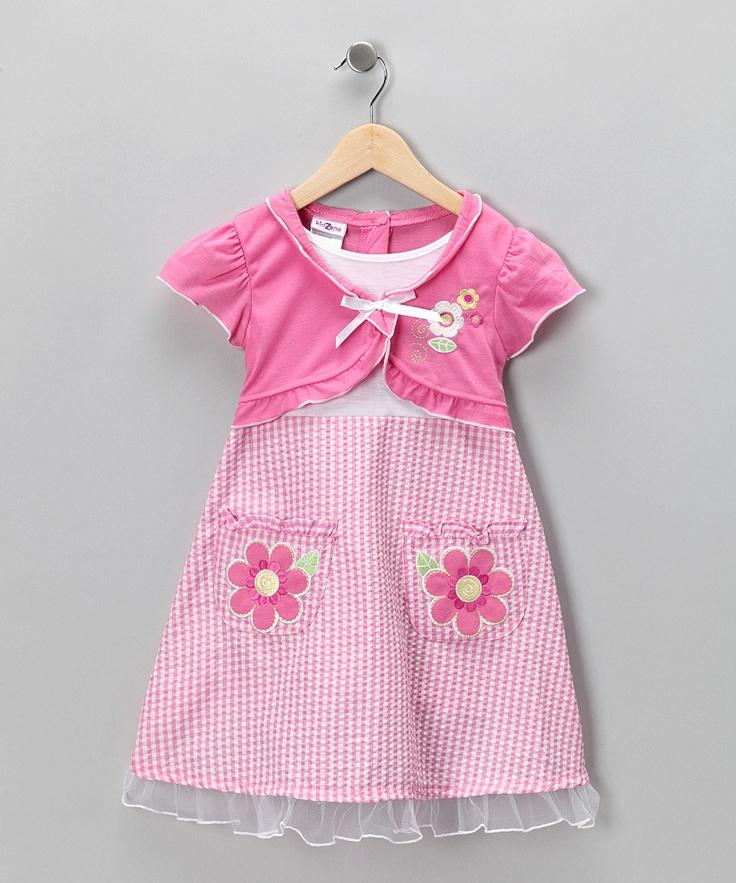 Pink Flower Pocket Seersucker Dress Infant Toddler