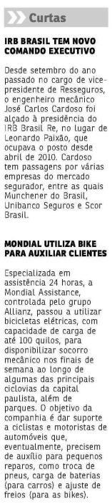 Título: Mondial utiliza bike para auxiliar clientes. Veículo:Jornal do Commercio RJ Data 14/08/2015 Cliente: Mondial