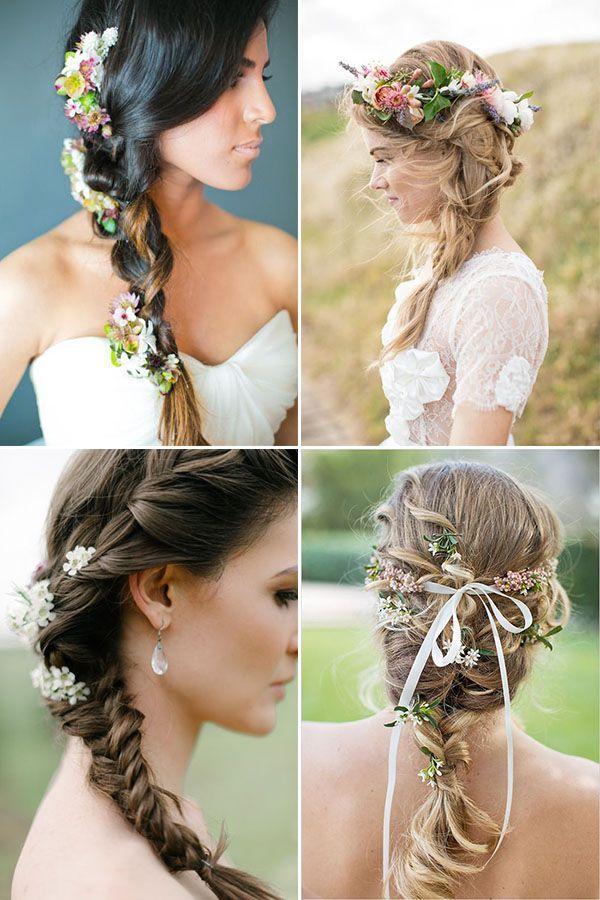 treccia con fiori per la sposa