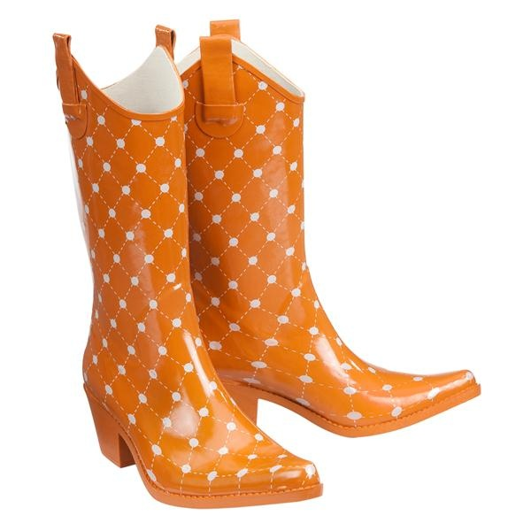 """""""Stadium Stompers"""". They have all kinds of colors. Although, UT Vol Orange is hard to find. So you buy when you find! Good for those rainy games.Games, Rainboots, Polka Dots, Cowboy Boots, Rain Boots, Burnt Orange, Cowboyboots, Cowgirls Rain, Stadium Stomper"""