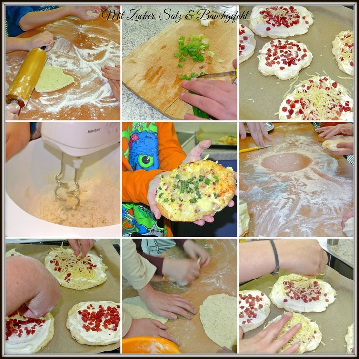 Kinder in der Küche, Rahmfladen, kochen, backen, Küche, Creme fraiche, Quark-Öl-Teig, Quark, Öl, mit kindern kochen, mit Kindern backen
