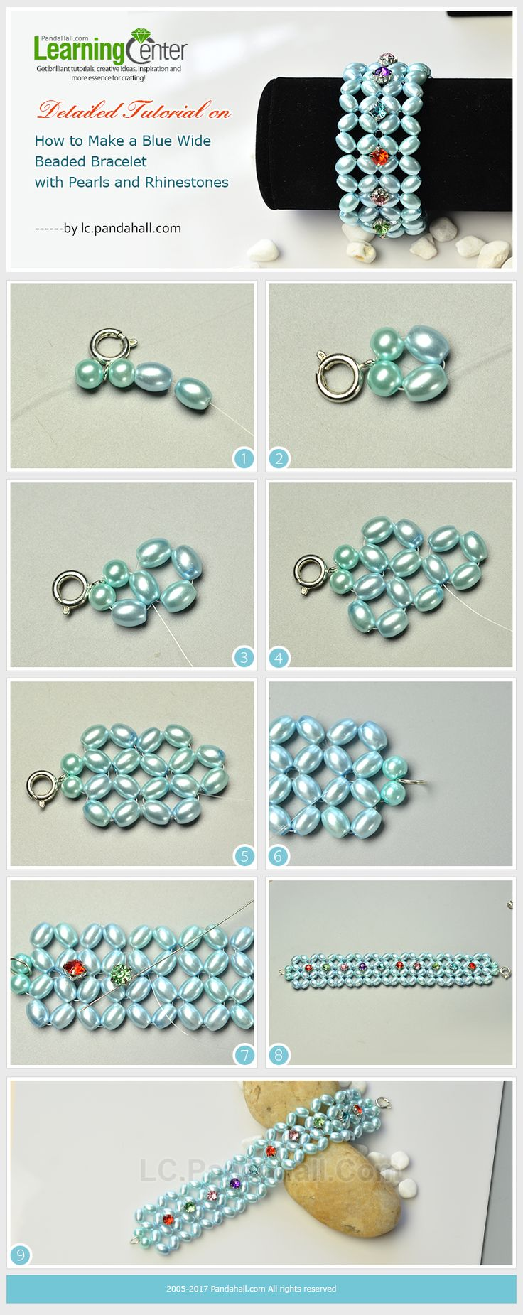 Detailed Tutorial on How to Make a Blue Wide Beaded Bracelet with Pearls and Rhinestones