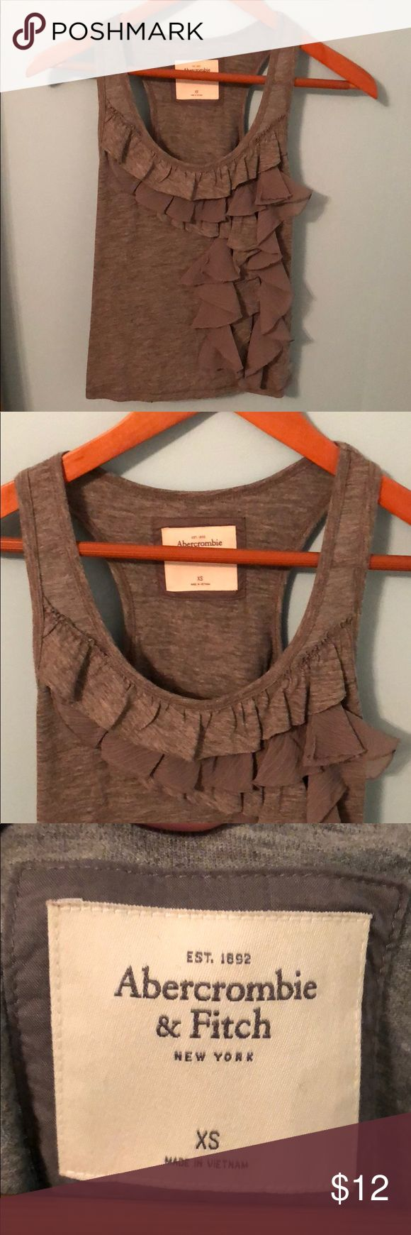 Abercrombie and Fitch tank with side ruffle. Gray tank top with side ruffle. Abercrombie & Fitch Tops Tank Tops