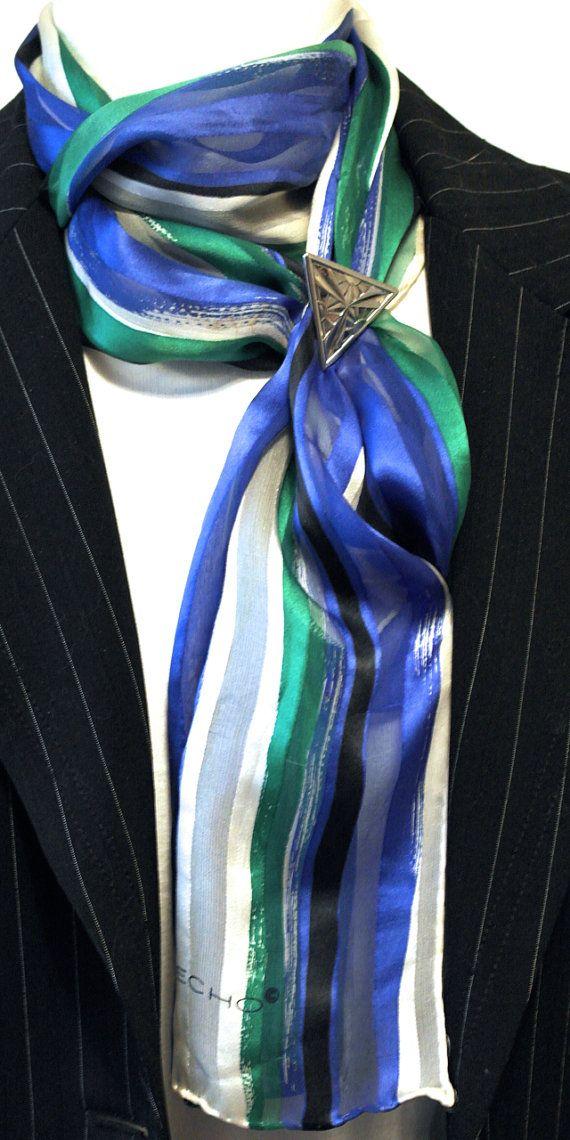Vintage Scarf Silk Scarf Echo Scarf Long by GrannysBottomDrawer