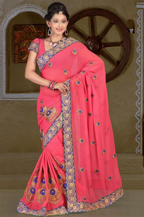 Mesmeric Chiffon Carrot party wear saree
