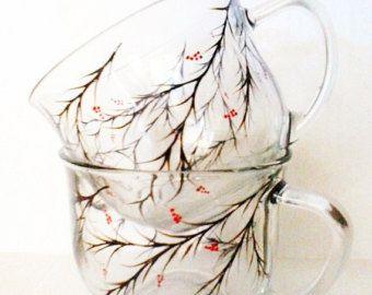 Pintado a mano de copas de vino diente de León por TheScarletLine
