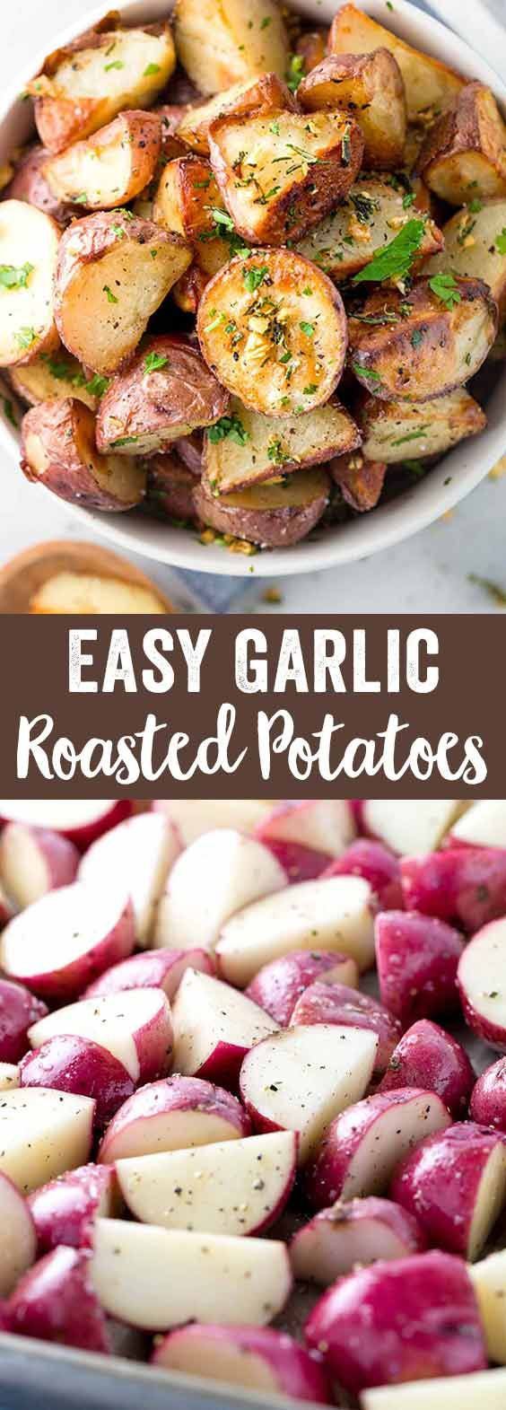 Easy side dish recipe for crispy garlic roasted potatoes cooked on a baking sheet and seasoned with rosemary and oil for extra flavor. via @foodiegavin
