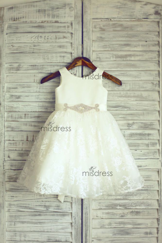 Satin Lace Flower Girl Dress/Beaded Sash Belt Wedding Easter Junior Bridesmaid