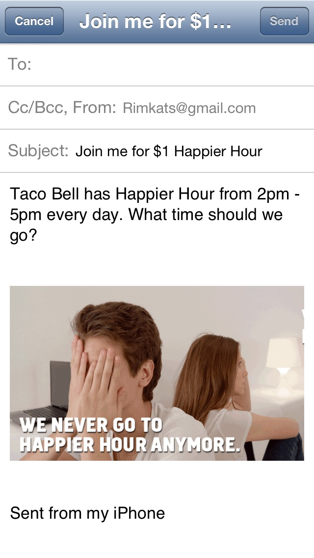 """Taco Bell is promoting its """"Happier Hour"""" campaign through an Apple iAd mobile initiative that encourages consumers to use the application's buttons to set alerts and notify them of nearby restaurants. The promotion touts """"1 dollar Mtn Dew Baja Blast Freeze"""" drinks during select hours with """"a clear call-to-action and attractive special offer,"""" comments Appitalism CEO Simon Buckingham"""