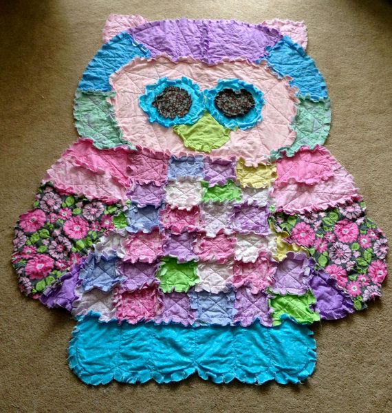 Owl Rag Quilt By Raggedycathy On Etsy 140 00 Rag Quilt