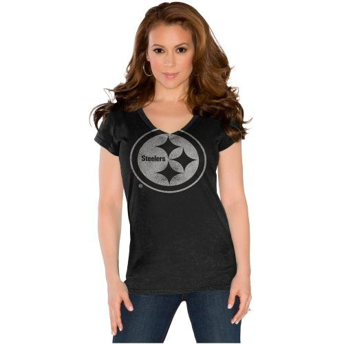 Touch by Alyssa Milano Pittsburgh Steelers Field Goal V-Neck Slim Fit T-Shirt - Black