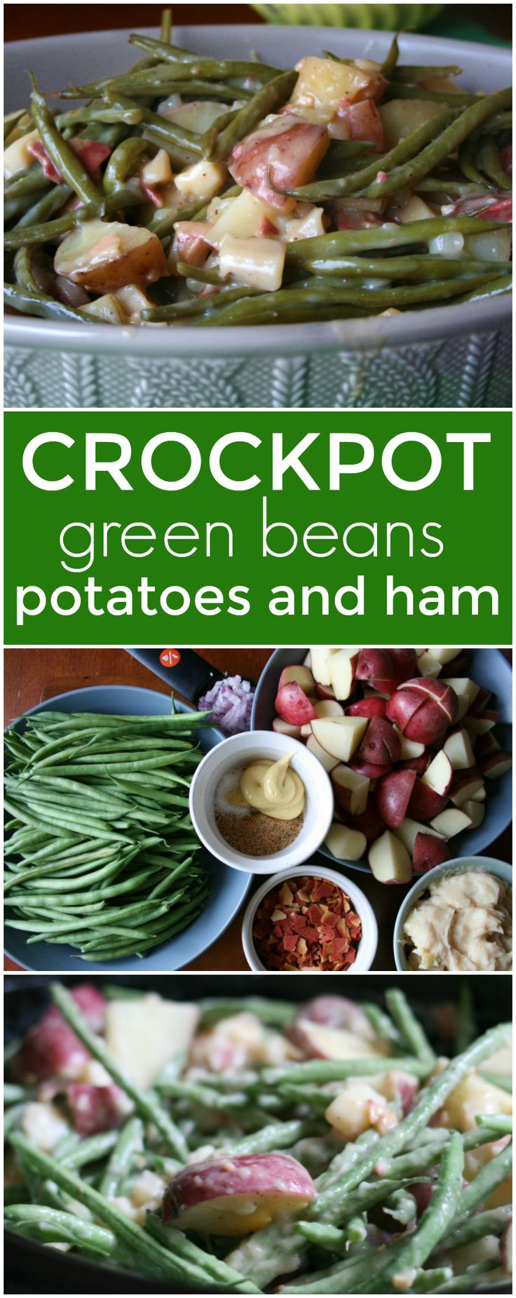 I decided to put a fun twist on this family favorite Crockpot Green Beans Potatoes and Ham. This quick and easy side is perfect for any family occasion.