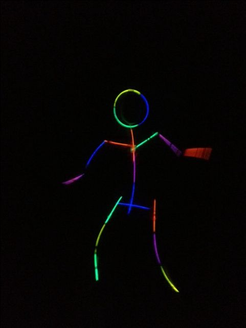 Glow stick person- Tape Glow Sticks on to somebody and have them dance around (at night of course!) This looks sooo funny, and is such an easy game for kids!