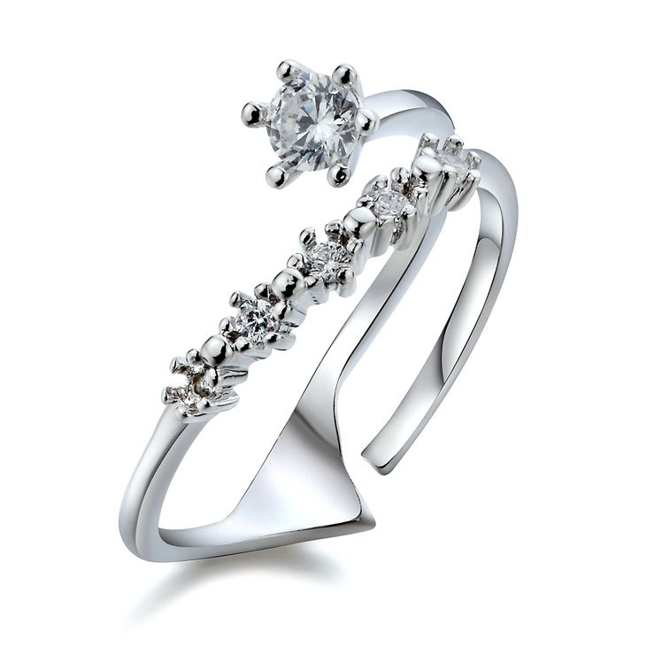2016 Brand Real Austrian Crystal  White gold Color Zirconia Rings for Women Anti Allergies  Fi-42805