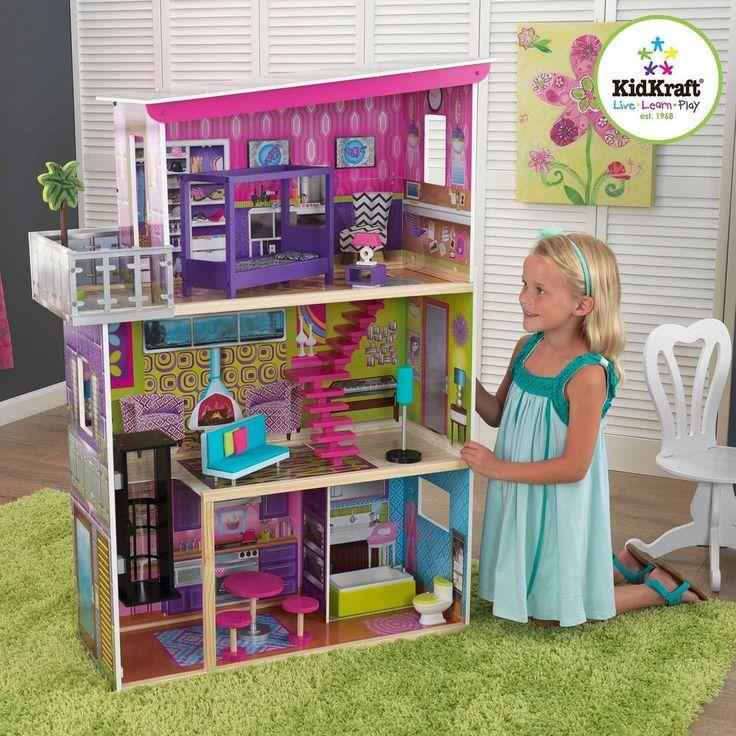 Barbie Size KidKraft Dollhouse Girls Kids Play Wooden Furniture Super Model #KidKraftDollhouse #Modern
