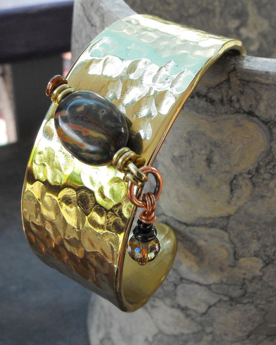 Beaded Brass Cuff with Jasper stone and dangle by OhmHomeLighting, $115.00