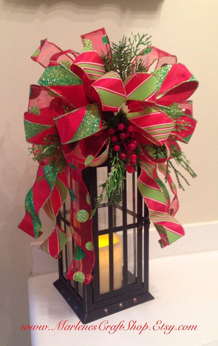 Christmas Lantern Swag / Tree topper / holiday decoration/ Christmas bow by MarlenesCraftShop on Etsy https://www.etsy.com/listing/210380714/christmas-lantern-swag-tree-topper