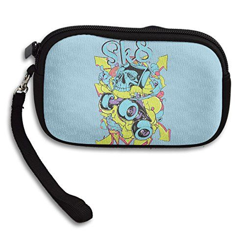 Skateboard Skull Womens Zipper Small Wallet Purse Porte Monnaie
