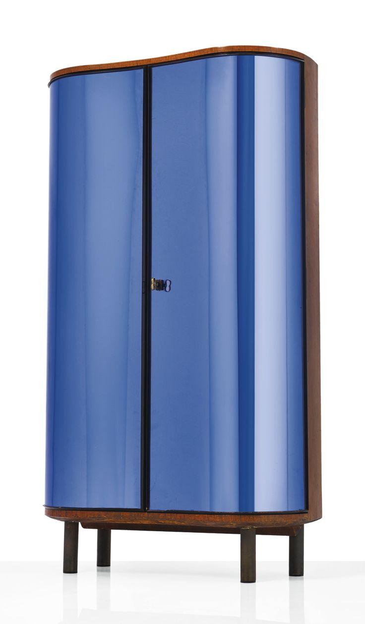 Pietro Chiesa; #0775 Colored Mirrored Glass, Walnut, Ebonized Wood and Patinated Brass 'Blue Chiaro Argento' for Fontana Arte, c1938.