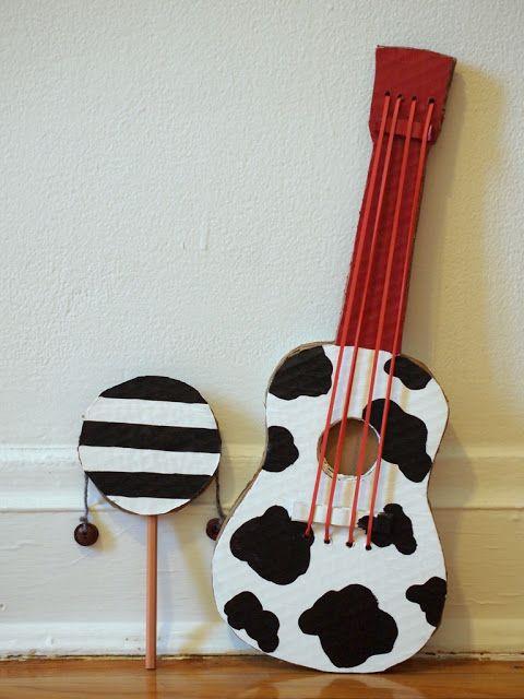 Pink Stripey Socks: Make a cardboard guitar