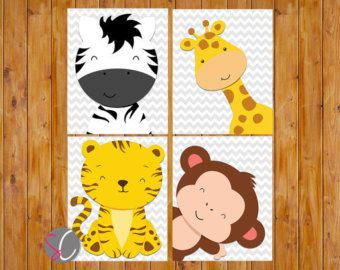 Instant Download Jungle Animals Nursery Wall Art by scadesigns