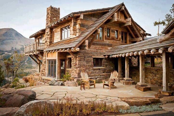 Cut stone and wood cabin amazing homes pinterest for Wood cabin homes