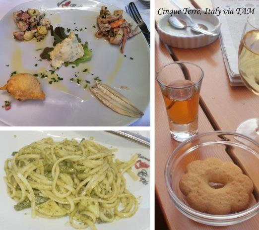 Italian pesto pasta & seafood antipasti plate | Cinque Terra DOC & Sciacchetra dessert wine from Cinque Terra, Italy
