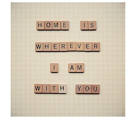 Scrabble art print - love quote - wall art - home is wherever I am with you quote - square photograph - beige home decor