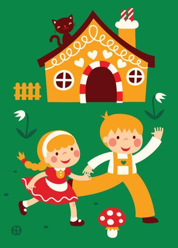 Poster Hansel And Gretel Etsy En 2021 Hansel Y Gretel Dibujos Para Ninos Ninos Jugando