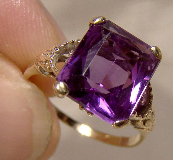 10K Synthetic Alexandrite Ring 1930s 10 K Size 5-1/2 Emerald