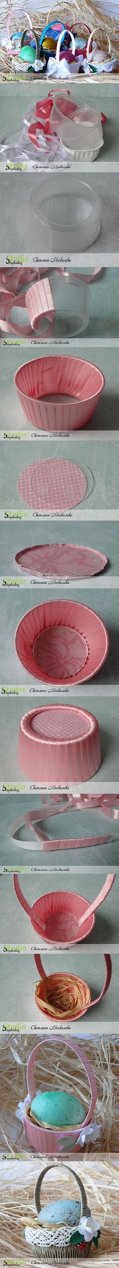 DIY Easter Basket with Disposable Plastic Bowl - http://www.healthdaily.me/diy-easter-basket-with-disposable-plastic-bowl/:
