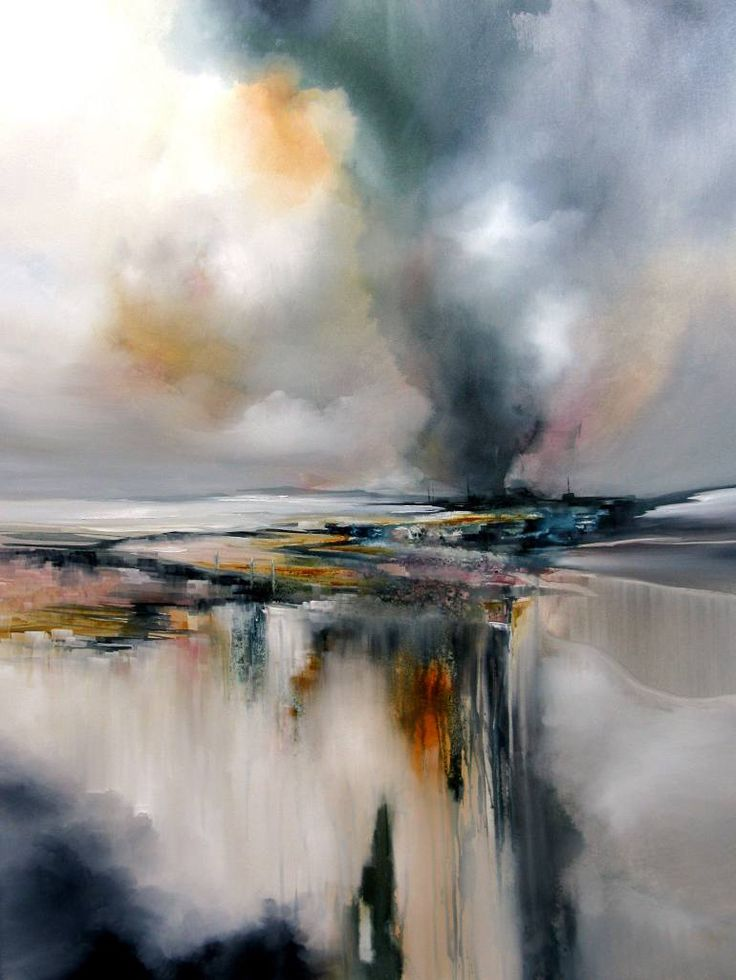 Twister, a Oil on Canvas by Alison Johnson from United Kingdom. It portrays: Landscape, relevant to: modern art, atmospheric painting, cream, aquablue, grey, alisonjohnsonartist, turneresque art, landscape Oil on canvas, a dramatic painting in gentle tones