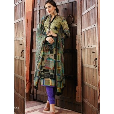 First-Rate Silk Unstitched Dress Material With Top-Silk , Bottom-Denim , Dupatta-Chiffon
