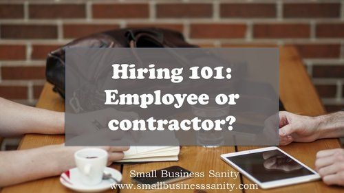 Hiring 101: Employee or contractor?  www.SmallBusinessSanity.com is a resource for small business entrepreneurs to get control of their company and back to business.