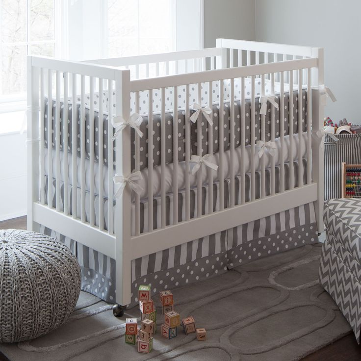 Gray And White Dots Stripes 3 Piece Crib Bedding Set BoyBaby