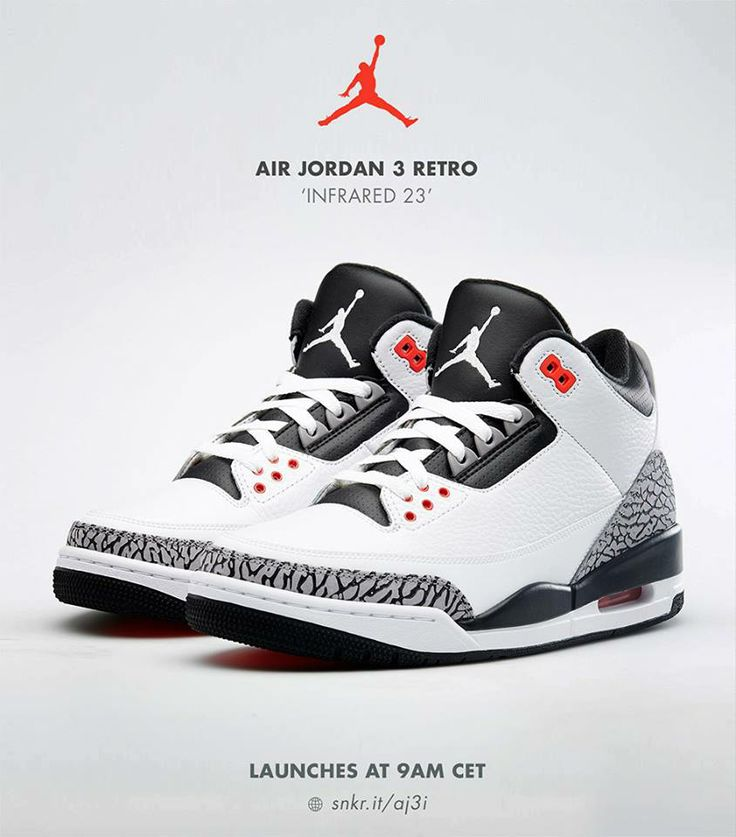 Air Jordan 3 Retro White Black Cement Grey Infrared Share more Jordan  release 2014