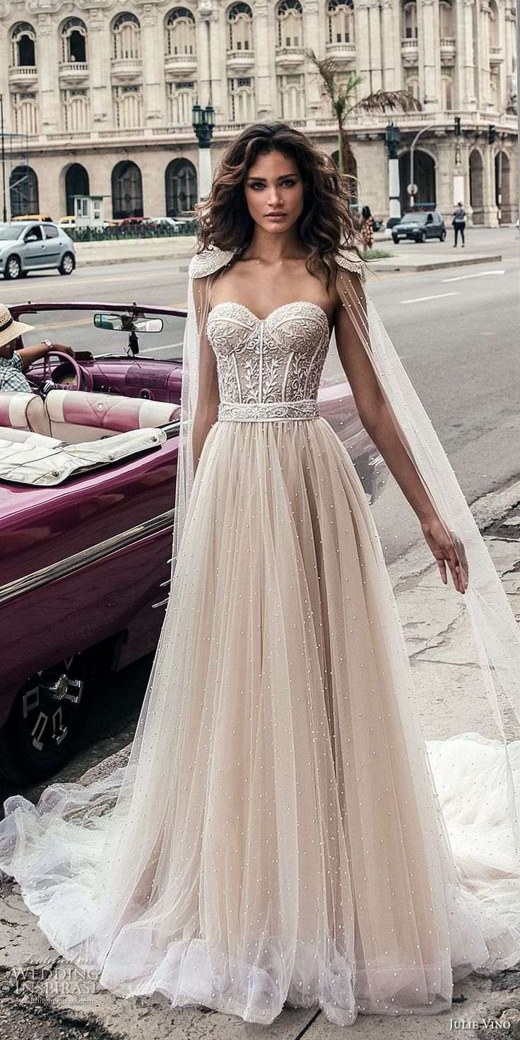 julie vino fall 2018 havana strapless sweetheart neckline heavily embellished bodice tulle skirt romantic soft a line wedding dress open back chapel train (6) mv
