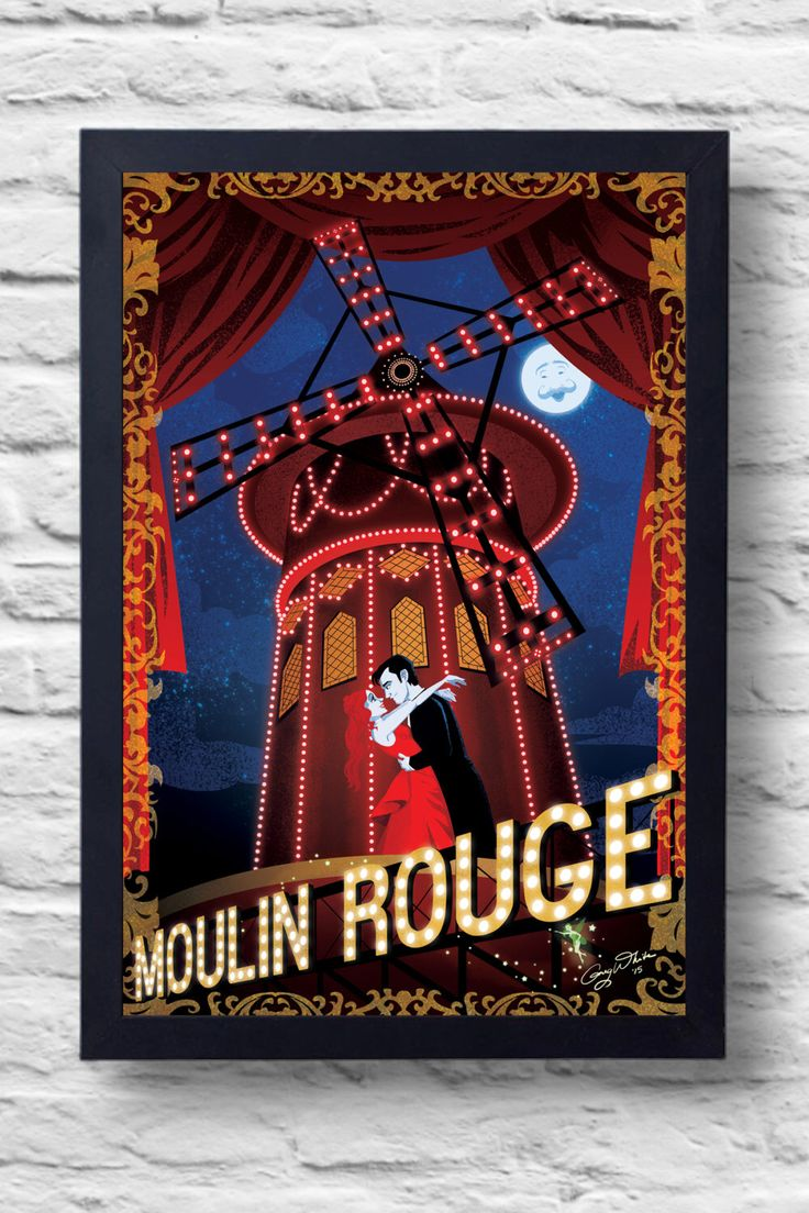 Moulin Rouge-Movie Poster Print, film illustration by TightywhiteArt on Etsy https://www.etsy.com/listing/234224069/moulin-rouge-movie-poster-print-film