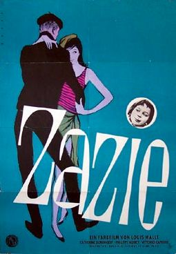 A Louis Malle movie with Catherine Demongeot, & Philippe Noiret. Design by Rehak, 1960, Zazie (Zazie dans le Metro). (G)