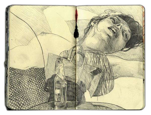 pencil sketch of naked women sleeping