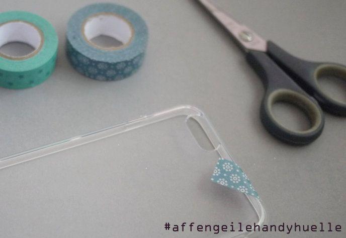 erster schritt handyhuelle selbst kreieren mit washi tape