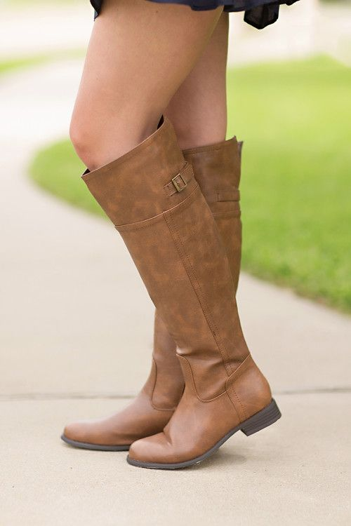 Fall boots, buckle boots, knee-high boots, riding boots-Easy Rider Boots-Cognac by Jane Divine Boutique www.janedivine.com