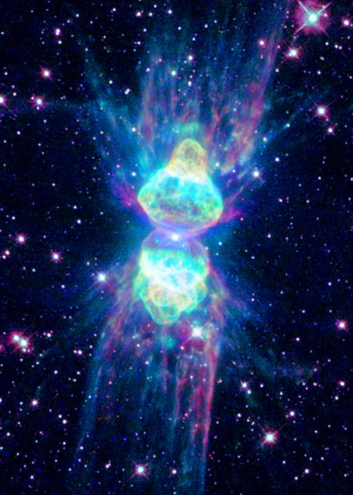 Ant Nebula (Mz 3) is a young bipolar planetary nebula in the constellation Norma composed of a bright core and four distinct high-velocity outflows that have been named lobes, columns, rays, and chakram.