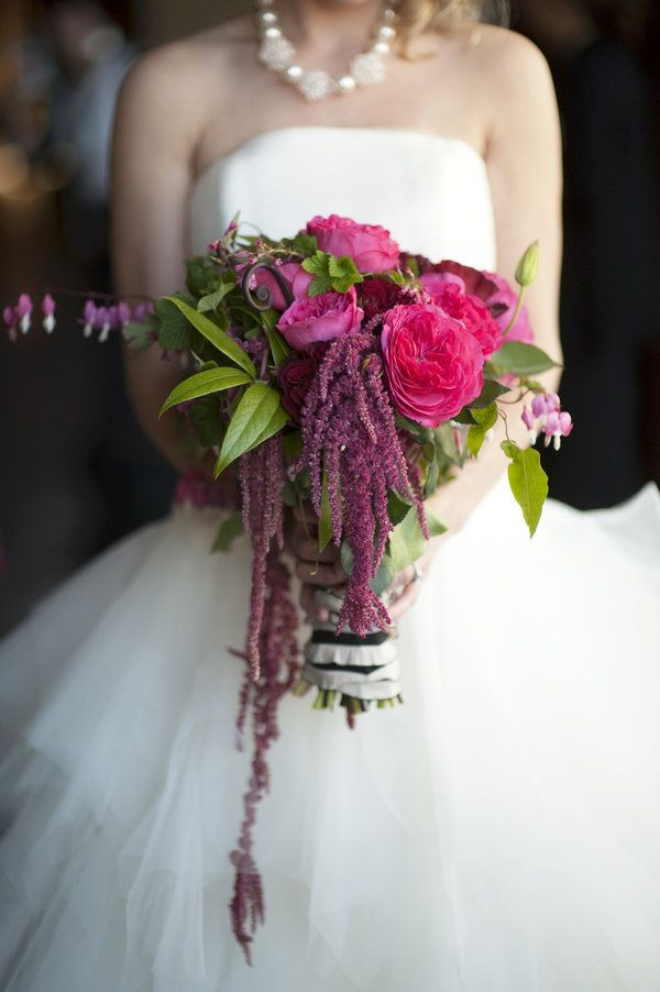 Deep Pink and Purple Wedding Bouquet | On SMP: http://stylemepretty.com/2011/12/08/seattle-workshop-shoot-by-justin-mary |   Photography: Justin & Mary Marantz